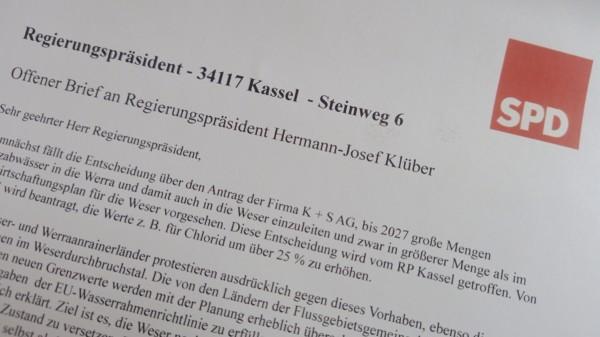 SPD Logo oben rechts, drunter Teilauszug des offenen Briefs